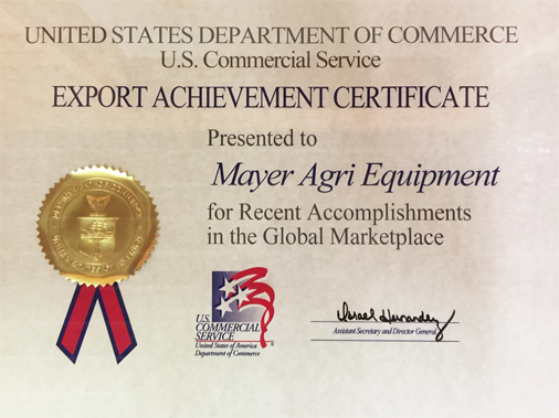 Export achievement certificate